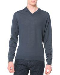 Lanvin Wool-knit V-neck Sweater - Lyst