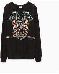 Zara Embroidered Sweatshirt - Lyst