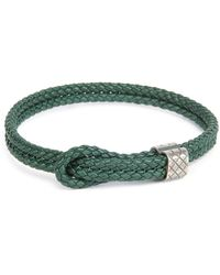 Bottega Veneta Mens Woven Leather Knot Bracelet - Lyst