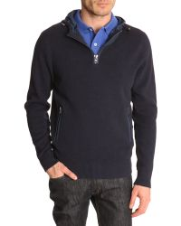 Tommy Hilfiger Navy Blue Sweater With Adjustable Nylon Hood - Lyst