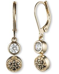 Judith Jack - Crystal And Marcasite Drop Earrings - Lyst