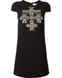 Saint Laurent Studded Cross Mini Dress - Lyst