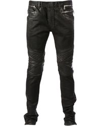 Balmain Faux Leather Skinny Jeans - Lyst