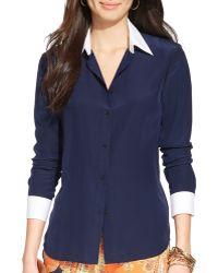 Ralph Lauren Lauren Color Block Silk Shirt - Lyst