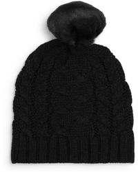 Ivanka Trump - Cable Knit Faux-fur Beanie - Lyst