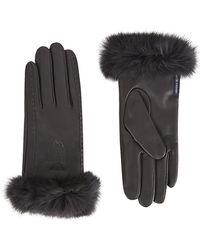Armani Jeans - Rabbit Fur Trim Leather Gloves - Lyst