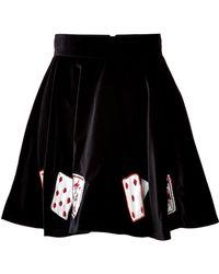 Olympia Le-Tan Embroidered Velvet Zancig Skirt - Lyst