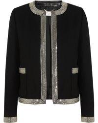 Saint Laurent Embellished Leathertrimmed Woolcrepe Jacket - Lyst