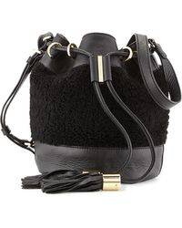 See By Chloé Vicki Small Shearling Bucket Bag Bamboo Black - Lyst