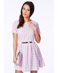 Missguided Natalina Checked Belted Skater Dress - Lyst