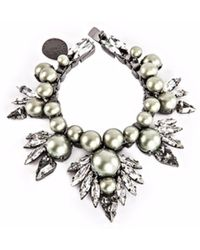 Ellen Conde - Powder Green Pearl And Crystal Bracelet - Lyst