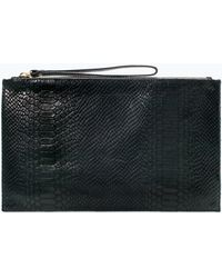 Zara Embossed Leather Clutch - Lyst