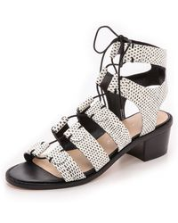 Loeffler Randall Timna Lace Up Sandals - Whiteblack - Lyst