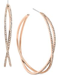 Michael Kors Crystal Pavé Criss-Cross Hoop Earrings pink - Lyst