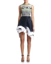 Peter Pilotto Tessera Embellished Mixed-Media Dress - Lyst