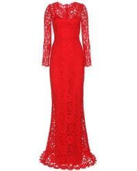 Dolce & Gabbana Floor-length Lace Dress - Lyst
