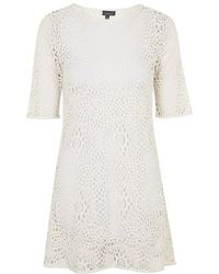 Topshop Crochet Tunic Dress - Lyst