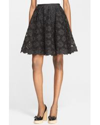RED Valentino Embroidered Silk Organza A-Line Skirt black - Lyst