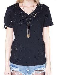Pixie Market Safety Pin Band Tee - Lyst