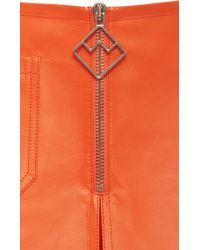 Bally - Leather Skirt In Blaze Orange - Lyst