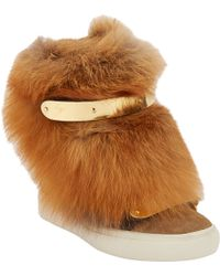 Giuseppe Zanotti Fur-Trim Wedge Zip Sneaker - Lyst