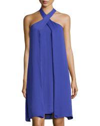 Halston Heritage Asymmetric Drape Halter Dress - Lyst