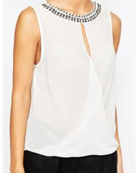 TFNC | Wrap Front Top With Necklace | Lyst