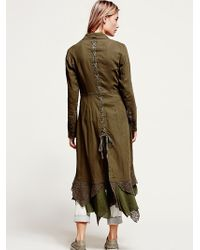 Free People Womens Linen Long Lace Up Jacket - Lyst