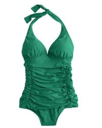 J.Crew D-Cup Ruched Halter One-Piece Swimsuit - Lyst