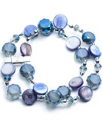 Jones New York - Silver-tone Blue Mixed Bead Two-row Stretch Bracelet - Lyst