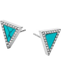 Michael Kors Turquoise And Glitz Stud Earrings - Lyst