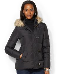 Lauren by Ralph Lauren Faux-Fur-Trim Hooded Toggle-Front Down Puffer Coat - Lyst