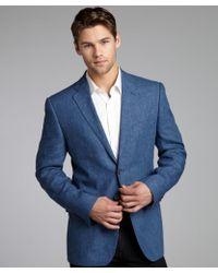 Joseph Abboud Denim Blue Linen Woven Blazer - Lyst