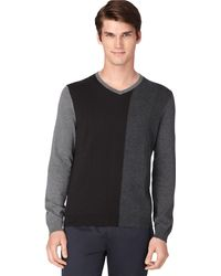 Calvin Klein Color Block V Neck Pullover - Lyst
