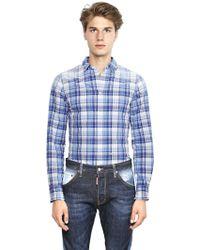 DSquared2 Faded Plaid Cotton Seersucker Shirt - Lyst