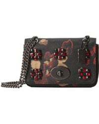 Coach Floral Jewels Embossed Mini Chain Crossbody - Lyst
