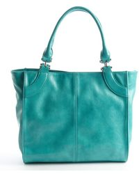 Big Buddha Turquoise Faux Leather Lasercut Detail Violet Tote - Lyst