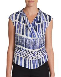 Max Mara Batik-print Silk Top - Lyst