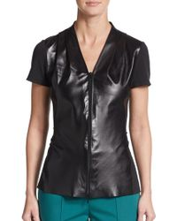 Lafayette 148 New York Leather Zip-Front Top - Lyst