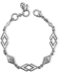 Lucky Brand - Silvertone Geometric Link Bracelet - Lyst