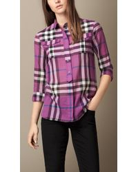 Burberry Check Cotton Shirt - Lyst