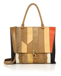 10 Crosby Derek Lam | Ave A Multicolor Patchwork Leather & Suede Satchel | Lyst