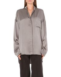 Haider Ackermann Bandcollar Silk Shirt L Grey - Lyst