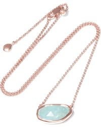 Monica Vinader - Capri Rose Gold-plated Aquamarine Necklace - Lyst