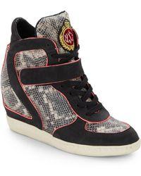 Ash Brendy Snake-embossed Leather Wedge Sneakers - Lyst