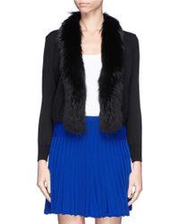 Diane Von Furstenberg Raccoon Fur Trim Wool Cardigan - Lyst
