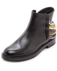 Casadei Leather Booties Black - Lyst