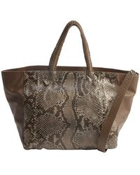 Nada Sawaya Dark Brown Python Leather Accent 'Syma X' Large Convertible Tote Bag - Lyst