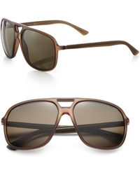 Gucci 60Mm Navigator Sunglasses brown - Lyst