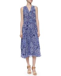 Rebecca Taylor Mixed-Print Layered Midi Skirt blue - Lyst